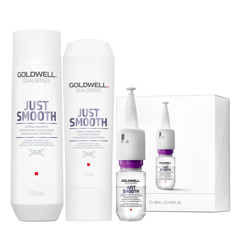 Goldwell Dualsenses Just Smooth Taming Shampoo 250ml Conditioner 200ml Serum 12x18ml