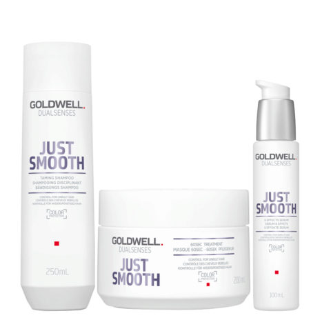 Goldwell Dualsenses Just Smooth Taming Shampoo 250ml Mask 200ml Antifrizz Serum 100ml