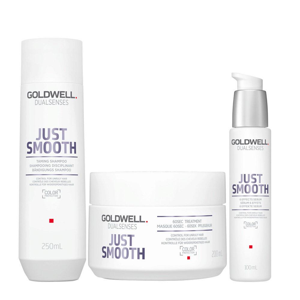 Goldwell Dualsenses Just Smooth Taming Shampoo 250ml Mask 200ml Antifrizz Serum 100ml