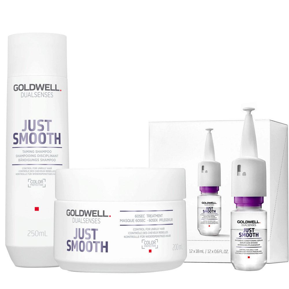 Goldwell Dualsenses Just Smooth Taming Shampoo 250ml Mask 200ml Antifrizz Serum 12x18ml
