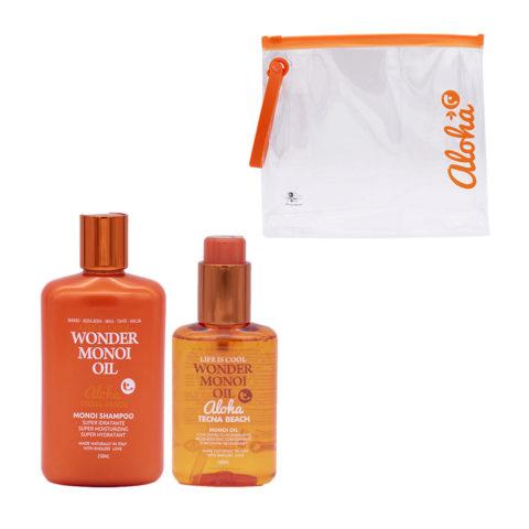 Tecna Beach Wonder Monoi kit Shampoo 250ml Monoi Oil 100ml free sea bag