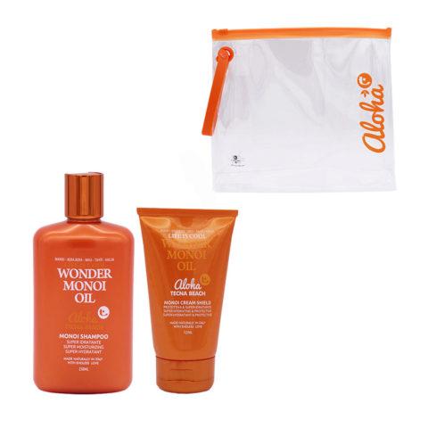 Tecna Beach Wonder Monoi kit Shampoo 250ml Cream Shield 125ml free sea bag