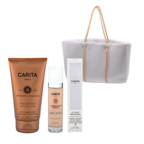 Carita Body Sun Protection SPF20, 150ml Face Protection SPF50+, 50ml Face liquid pigments 02 Medium 15ml