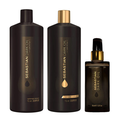 Sebastian Dark Oil Lightweight Hydrating Shampoo 1000ml Conditioner 1000ml Dark Oil 95ml