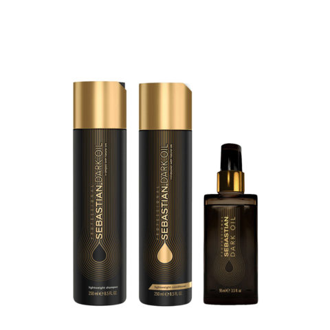 Sebastian Dark Oil Lightweight Hydrating Shampoo 250ml Conditioner 250ml Dark Oil 95ml