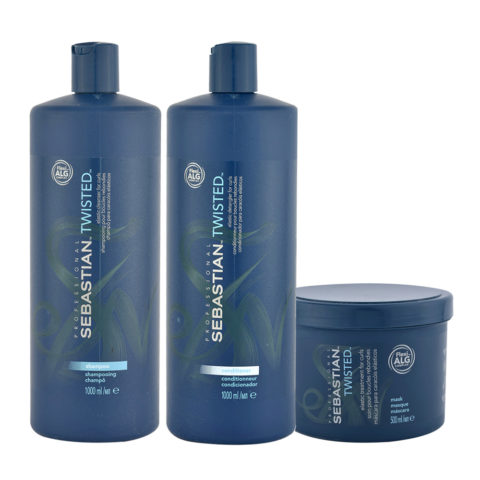 Sebastian Twisted Shampoo 1000ml Conditioner 1000ml Mask 500ml Curly Hair