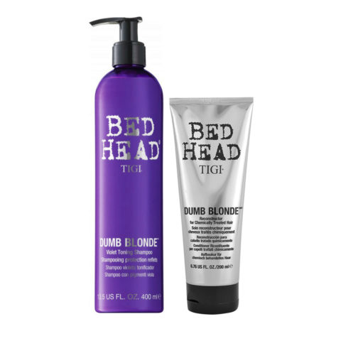 Tigi Bed Head Dumb Blonde Violet Toning Shampoo 400ml Conditioner 200ml for Blonde Hair