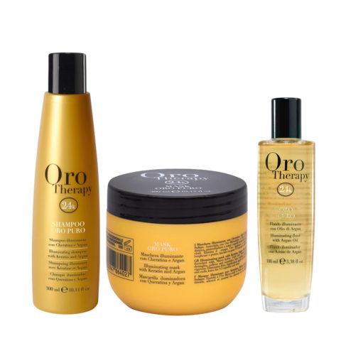 Fanola Oro Puro Shampoo 300ml Mask 300ml Oil 100ml