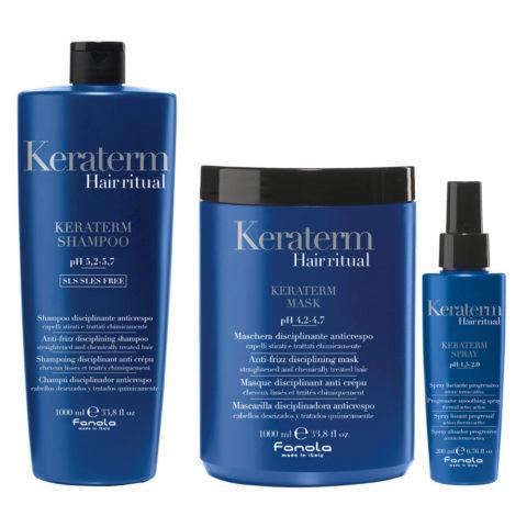 Fanola Keraterm Shampoo 1000ml Mask 1000ml Spray 200ml Antifrizz