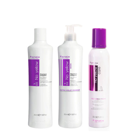 Fanola Shampoo 350ml And Mask 350ml Mousse 250ml Anti Yellow For Blond Hair