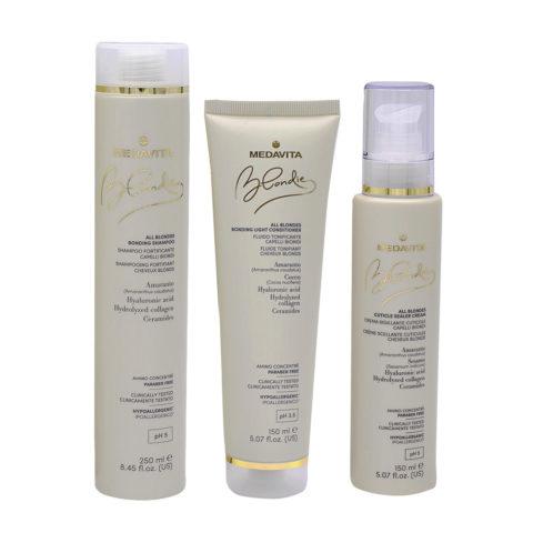 Medavita Blondie Shampoo 250ml Mask 150ml Moisturizing Cream For Thick Hair 150ml