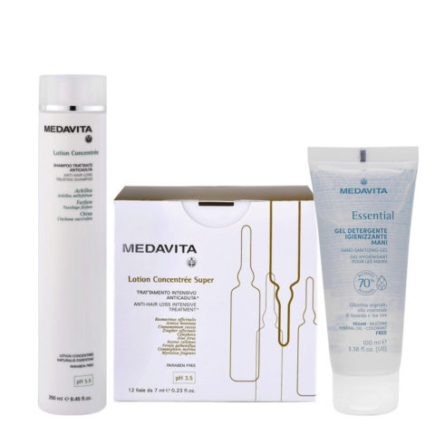 Medavita Scalp Lotion Concentree Anti-Hair Loss Shampoo 250ml and Super 12x7ml Vials