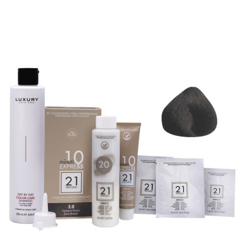 21 Ventuno Professional Hair Dyeing Kit 3.0 Dark Brown + Shampoo 250ml