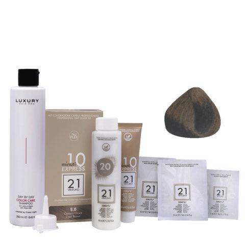 21 Ventuno Professional Hair Dyeing Kit 5.0 Light Brown + Free Shampoo 250ml