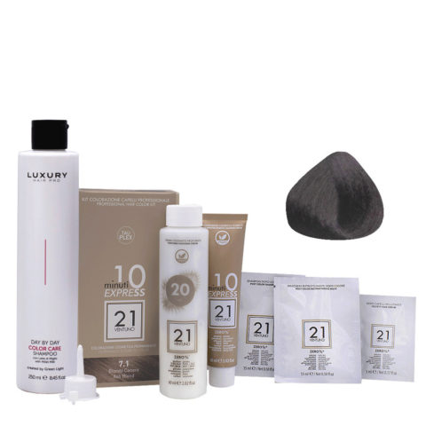 21 Ventuno Professional Hair Dyeing Kit 7.1 Ash Brown + Free Shampoo 250ml