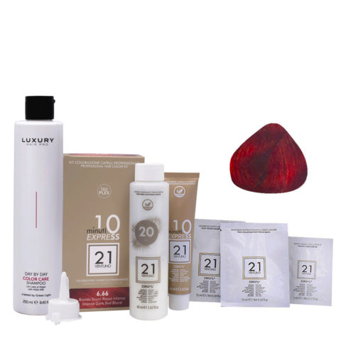 21 Ventuno Professional Hair Dyeing Kit 6.66 Intense Red Dark Blonde + Shampoo 250ml