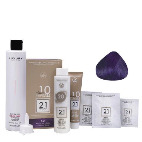 21 Ventuno Professional Hair Dye Kit 6.2 Purple Dark Blonde + Free Shampoo 250ml