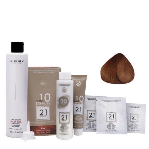 21 Ventuno Professional Hair Dyeing Kit 6.4 Copper Dark Blonde + Shampoo 250ml