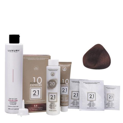 21 Ventuno Professional Hair Dyeing Kit 5.5 Mahogany Light Brown + Shampoo 250ml