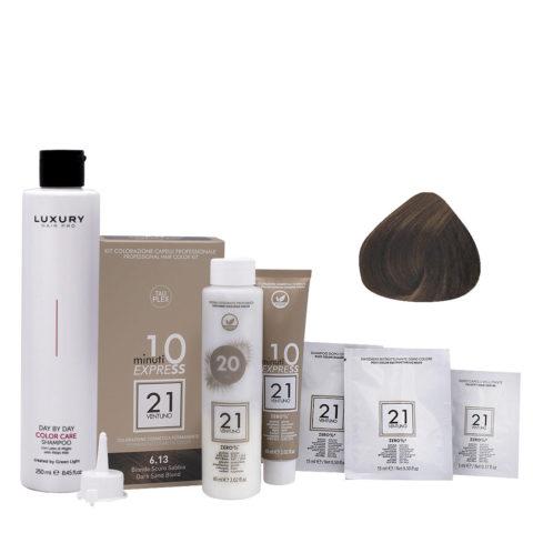 21 Ventuno Professional Hair Dyeing Kit 6.13 Sand Dark Blonde + Shampoo 250ml