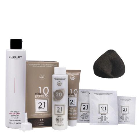 21 Ventuno Professional Hair Dyeing Kit 4.0 Brown + Shampoo 250ml