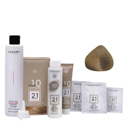 21 Ventuno Professional Hair Dyeing Kit 8.0 Light Blonde + Shampoo 250ml