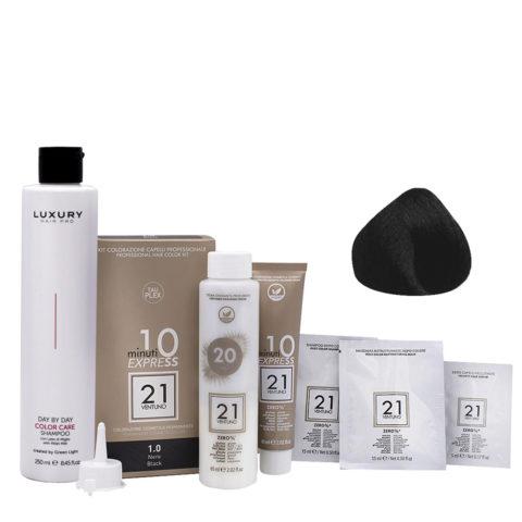 21 Ventuno Professional Hair Dyeing Kit 1.0 Black + Shampoo 250ml