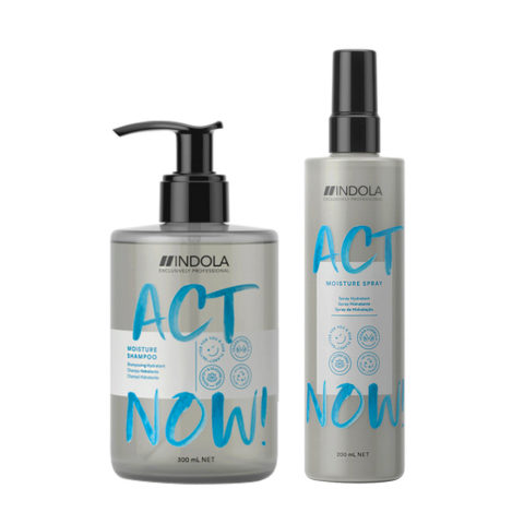 Indola Act Now Moisturizer For Dry Hair Shampoo 300ml and Moisturizing Spray 200ml