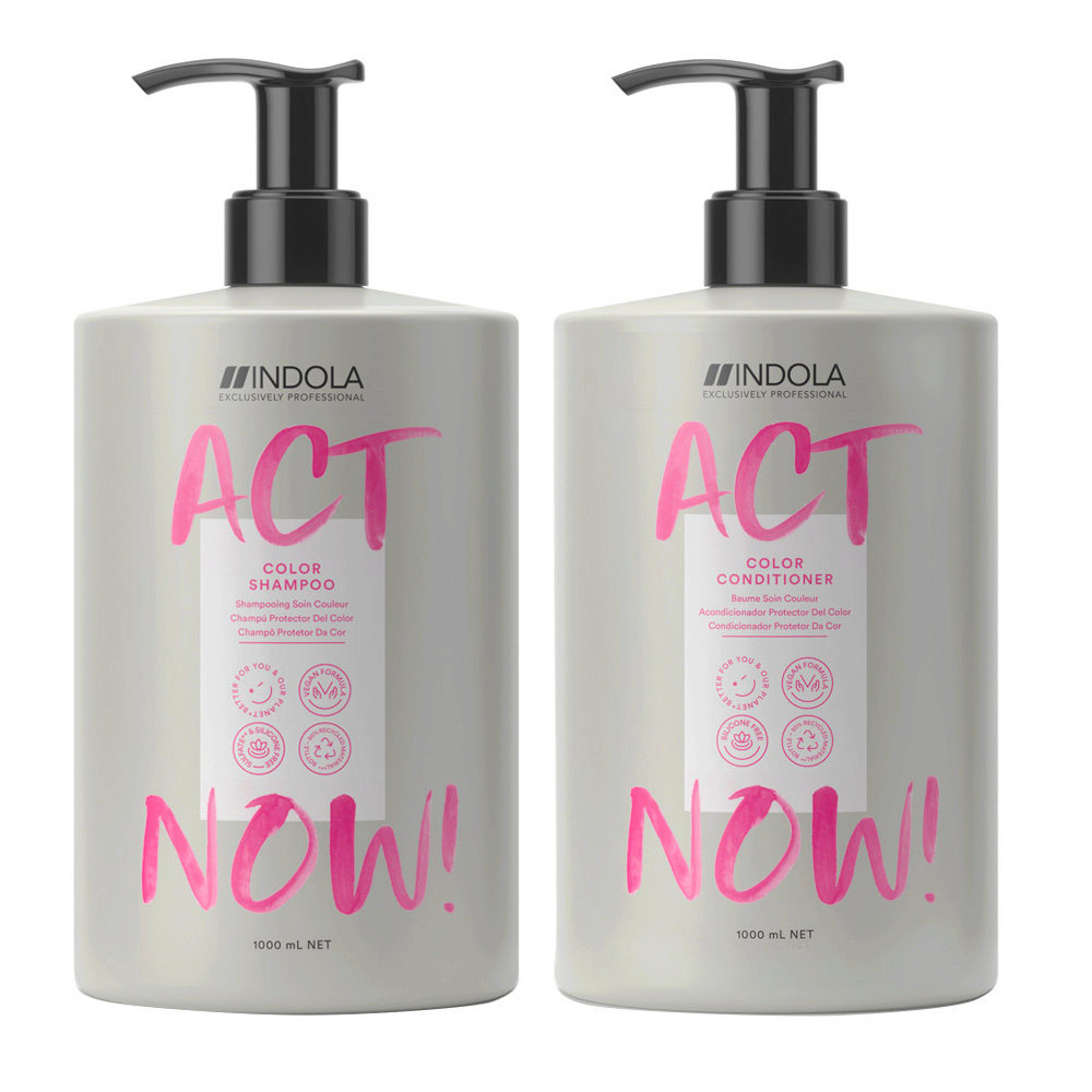 Indola Act Now Shampoo 1000ml And Conditioner 1000ml Colored Hair