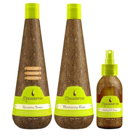 Macadamia Kit Dry hair Shampoo 300ml Conditioner 300ml Spray 125ml