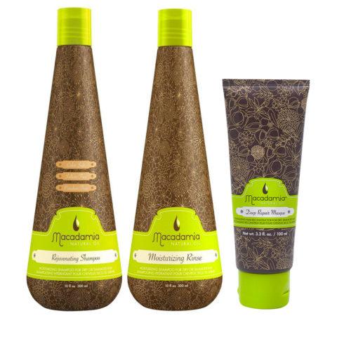 Macadamia Kit Moisturizing Dry Hair Shampoo 300ml Conditioner 300ml Mask 100ml