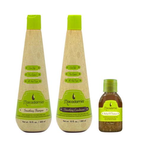 Macadamia Frizzy Hair Kit Shampoo 300ml Conditioner 300ml Argan Oil 27ml