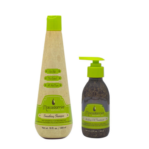 Macadamia Frizzy Hair Kit Shampoo 300ml and Moisturizing Argan Oil 125ml