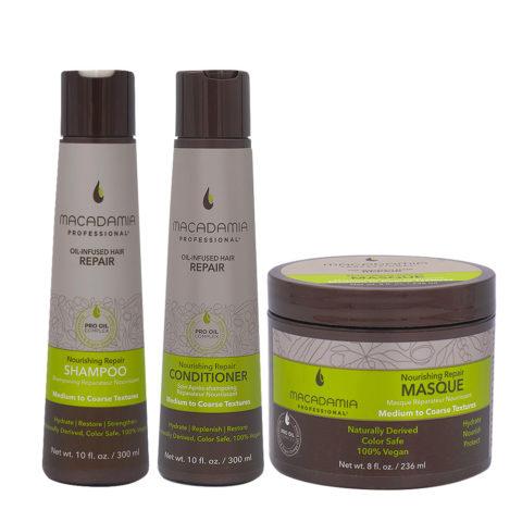Macadamia Set Damaged Hair Shampoo 300ml Conditioner 300ml Mask 236ml
