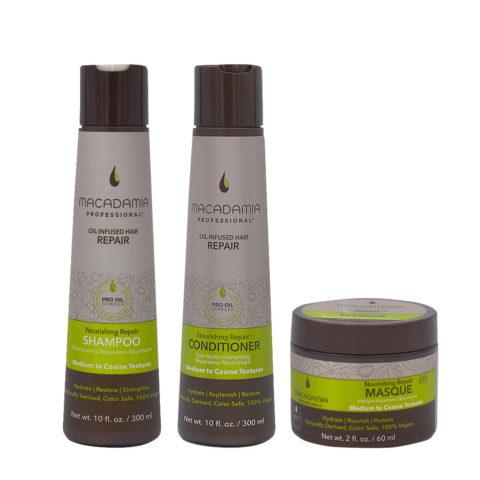 Macadamia Set Damaged Hair Shampoo 300ml Conditioner 300ml Mask 60ml