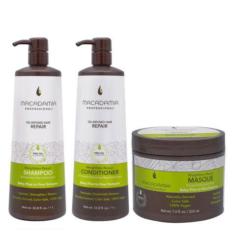 Macadamia Set Damaged and Fine Hair 1000ml Shampoo and Conditioner Mask 222ml