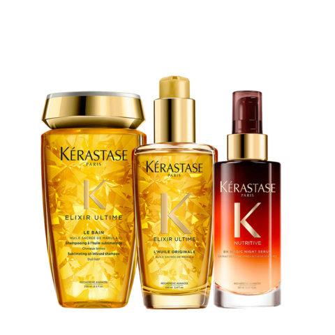 Kerastase Elixir Ultime Kit Hydrating Shampoo 250ml Oil 100ml Nigt Serum 90ml