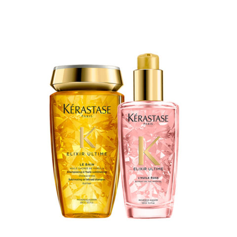 Kerastase Elixir Ultime Hydrating Kit Shampoo 250ml Oil for colored hair 100ml
