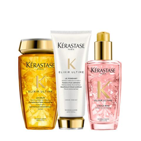 Kerastase Elixir Ultime Kit Shampoo 250ml Conditioner 200ml Oil colored hair 100ml