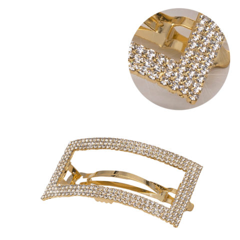 VIAHERMADA Matic Gold Rectangle Hair Clip with Strass