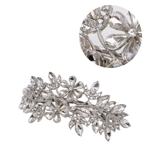 VIAHERMADA Matic Silver Hair Clip with Crystal Flowers