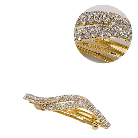 VIAHERMADA Matic Gold Hair Clip with Strass Waves