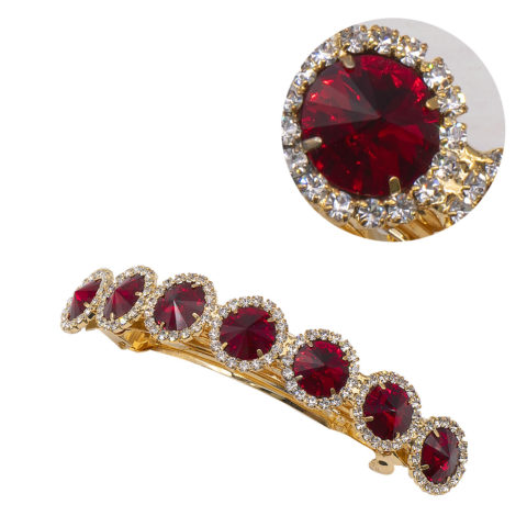 VIAHERMADA Matic hair clip with Red Stones and Strass