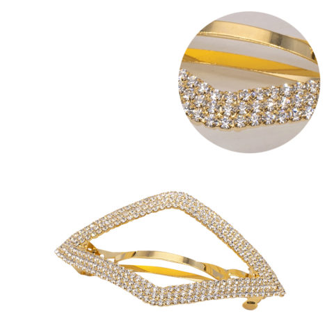 VIAHERMADA Matic Gold Rhombus Hair Clip with Strass