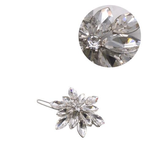 VIAHERMADA Crystal Flower Silver Hair Clip