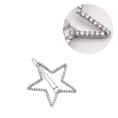 VIAHERMADA Silver Star Hair Clip with Rhinestones