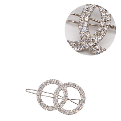 VIAHERMADA Silver Circles Hair Clip with Rhinestones