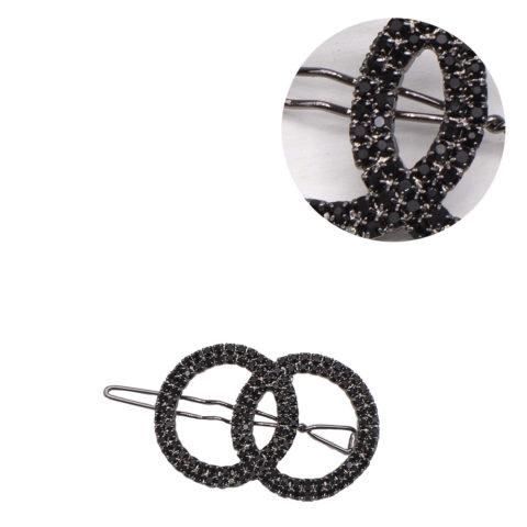 VIAHERMADA Black Circles Hair Clip with Rhinestones