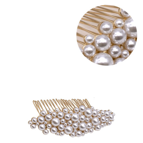VIAHERMADA Gold Comb Hair Clip with Pearls