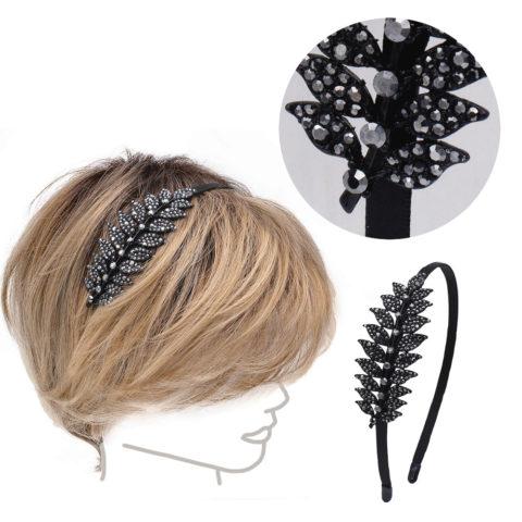 VIAHERMADA Leaf Hairband in Black Rhinestones